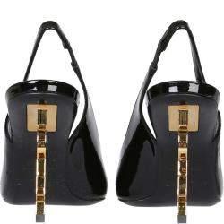 Saint Laurent Black Leather Opyum Slingback Pumps Size IT 35