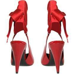 Saint Laurent Red Patent Leather Venus Ankle-Wrap Pumps Size IT 37