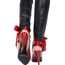 Saint Laurent Red Patent Leather Venus Ankle-Wrap Pumps Size IT 37.5