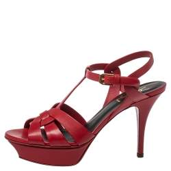 Saint Laurent Red Leather Tribute  Ankle Strap Sandals Size 37.5