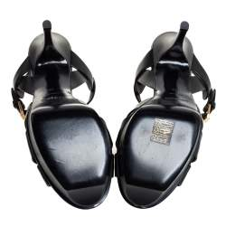 Saint Laurent Black Leather Tribute Platform Ankle Strap Sandals Size 38