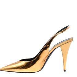 Saint Laurent Paris Gold Leather Viper Slingback Pumps Size EU 40