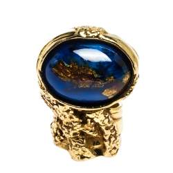 Saint Laurent Arty Blue Glass Cabochon Gold Tone Ring Size 54.5