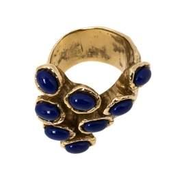 Yves Saint Laurent Arty Dots Blue Cabochon Gold Tone Ring Size 54.5