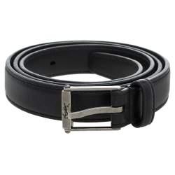 Saint Laurent Paris Black Leather High Waist Narrow Belt Size 80 CM