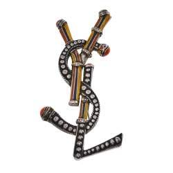 Saint Laurent YSL Logo Enamel Silver Tone Pin Brooch