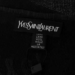 Yves Saint Laurent Black Jacquard Signature Wool Scarf
