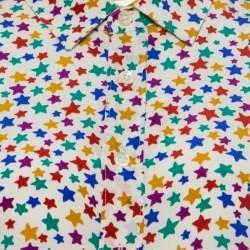 Saint Laurent Paris Multicolor Star Printed Silk Long Sleeve Button Front  Shirt XL