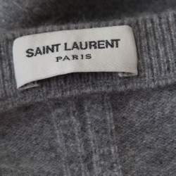Saint Laurent Paris Grey Distressed Wool and Cashmere Crew Neck Sweater L
