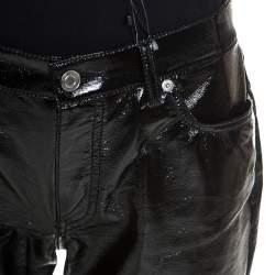 Saint Laurent Black Vinyl Faux Leather Low Rise Trousers L