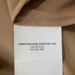 Yves Saint Laurent Beige Satin Drawstring Detail Blouse S
