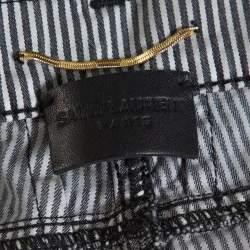 Saint Laurent Paris Monochrome Striped Cotton Low Waist Skinny Pants L