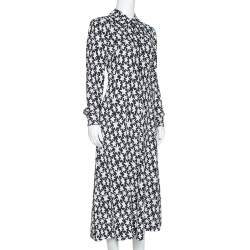 Saint Laurent Paris Monochrome Star Print Crepe Midi Dress M
