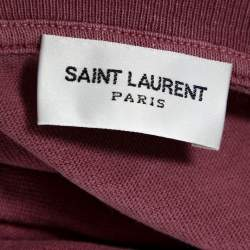 Saint Laurent Paris Pink Washed Cotton Logo Print Distressed T-Shirt L