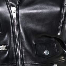 Saint Laurent Paris Black Leather Cropped Biker Jacket S