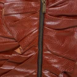 Saint Laurent Brown Leather Ruffle Detail Zip Front Mini Skirt S