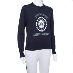 Saint Laurent Navy Blue Intarsia Knit University Crewneck Jumper S