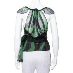 Saint Laurent Paris Rive Gauche Black & Green Silk Tie Detail Ruffled Top S