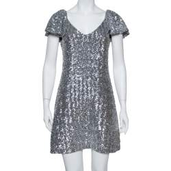 Saint Laurent Paris Silver Sequin Embellished Flutter Sleeve Dress M