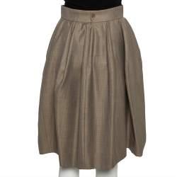 تنورة أيف سان لوران تصميم حرف أيه حرير وصوف بيج مقاس صغير