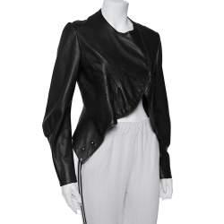 Saint Laurent Paris Dark Brown Leather Asymmetric Hem Cropped Jacket M