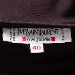 Yves Saint Laurent Rive Gauche Brown Knit One Shoulder Maxi Dress M