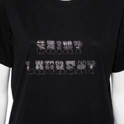 Saint Laurent Paris Black Cotton Logo Printed Crewneck T-Shirt L