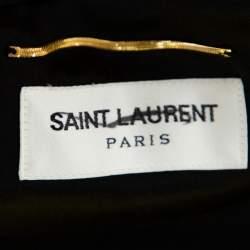Saint Laurent Paris Black Velvet Crystal Embellished Cutout Detail Faux Wrap Mini Dress M