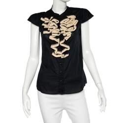 Yves Saint Laurent Black Cotton Crochet Ruffled Button Front Top M