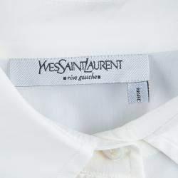 Saint Laurent Paris Off White Textured Placket Detail Long Sleeve Shirt S