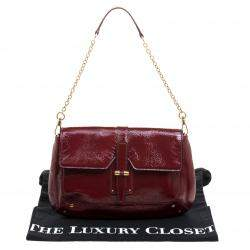 Yves Saint Laurent Red Patent Leather Emma Chain Shoulder Bag