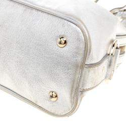 Yves Saint Laurent Silver Leather Medium Muse Satchel