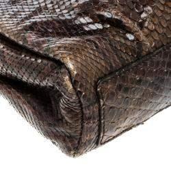 Yves Saint Laurent Brown Python Shoulder Bag