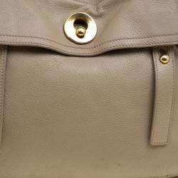 Yves Saint Laurent Beige Leather Medium Muse Two Satchel