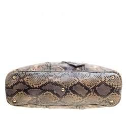 Yves Saint Laurent Brown/Blue Python Large Muse Satchel