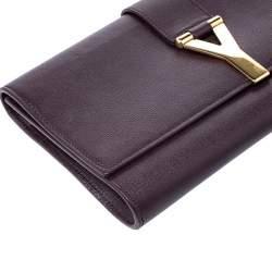 Saint Laurent Brown Leather Y Line Clutch