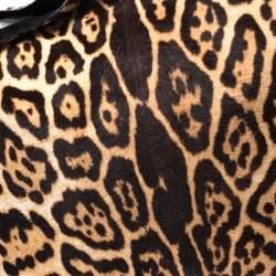 Saint Laurent Paris Leopard Print Calf Hair Large Roady Hobo