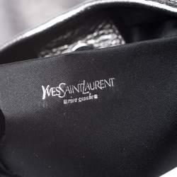 Yves Saint Laurent Metallic Grey Leather Mini Mombasa Hobo