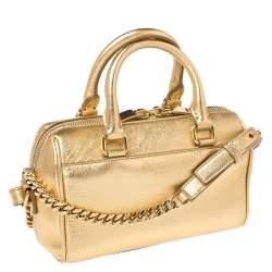 Saint Laurent Paris Metallic Gold Leather Classic Duffel Bag