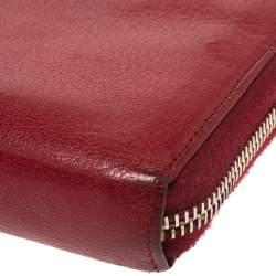 Saint Laurent Red Leather Belle de Jour  Zip Around Wallet