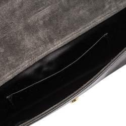 حقيبة كلتش سان لوران باريس شيك كبيرة جلد نقش سحلية رمادية