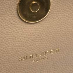 Saint Laurent Beige Chevron Quilted Leather Monogram Envelope Shoulder Bag