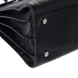 Saint Laurent Black Croc Embossed Leather Small Classic Sac De Jour Tote
