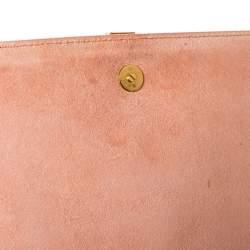 Saint Laurent Peach Leather Large Chyc Clutch