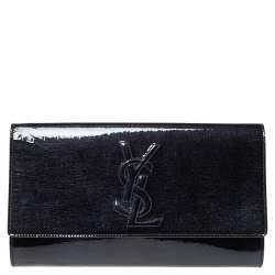 Yves Saint Laurent Deep Green Patent Leather Belle De Jour Flap Clutch