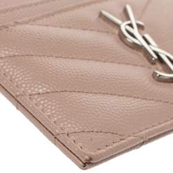 Saint Laurent Beige Matelasse Leather Monogram Card Holder
