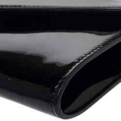 Saint Laurent Black Patent Leather Y Mail Envelope Clutch