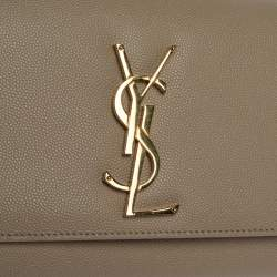Saint Laurent Beige Leather Kate Monogram Clutch