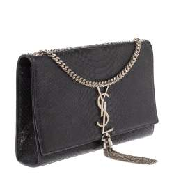 Saint Laurent Black Python Medium Kate Tassel Shoulder Bag