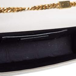 Saint Laurent Off White Leather Medium Kate Shoulder Bag